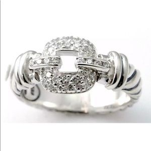 David Yurman Sterling Pave Diamond Cable Ring